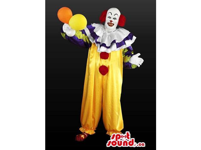 Peculiar Clown Adult Size Costume Or Canadian SpotSound Mascot With Balloons