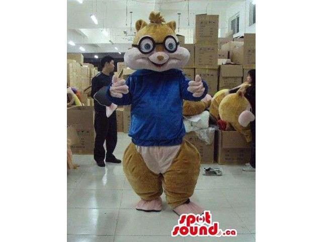 Brown Chipmunk Plush Canadian SpotSound Mascot With A Blue Customised Top And Glasses