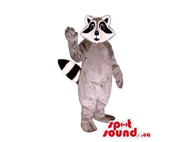Customised Grey Raccoon Animal Canadian SpotSound Mascot With Long Black Eyes