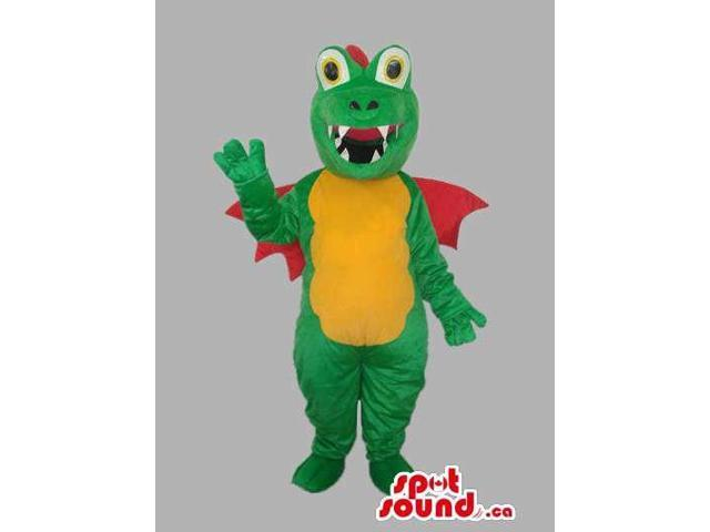 Green Dragon Plush Canadian SpotSound Mascot With Red Wings And Yellow Belly