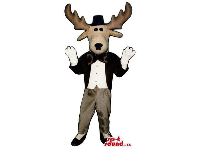 Reindeer Animal Plush Canadian SpotSound Mascot With Elegant Gear And A Hat