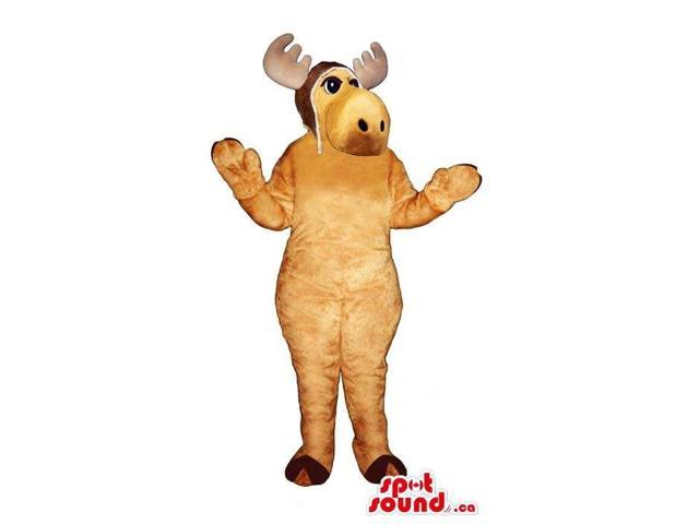 Beige Reindeer Animal Plush Canadian SpotSound Mascot With A Pilot Hat
