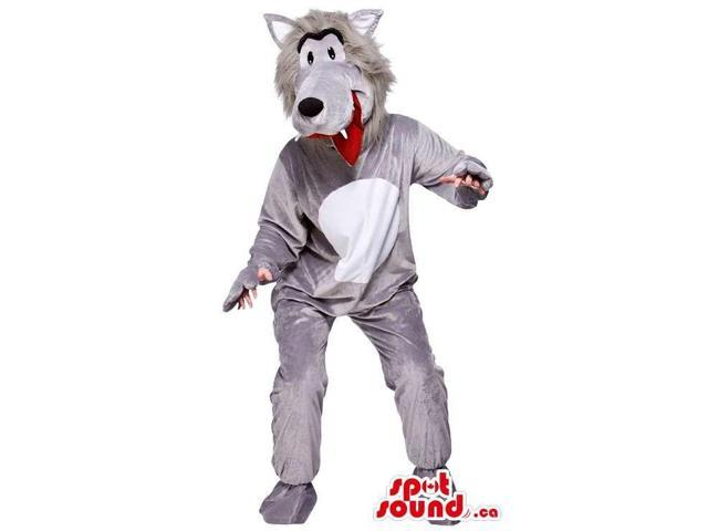 Grey And White Wolf Animal Adult Costume With Red Tongue