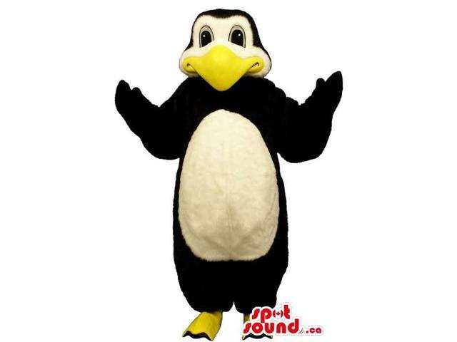 Penguin Canadian SpotSound Mascot With A Large Yellow Beak And A Round White Belly