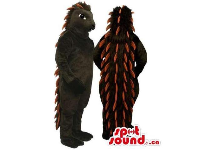 Customised All Black Porcupine Animal Canadian SpotSound Mascot With Brown Spines