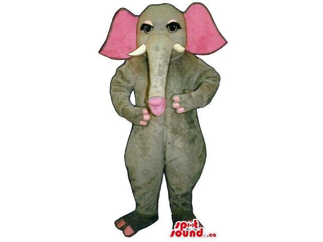 Grey Elephant Plush Canadian SpotSound Mascot With Pink Ears And Eyelids