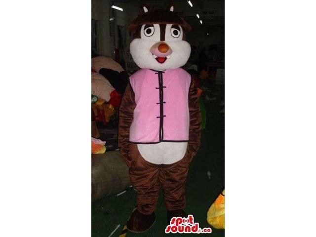 Dark Brown Chipmunk Plush Canadian SpotSound Mascot With Pink Oriental Clothes