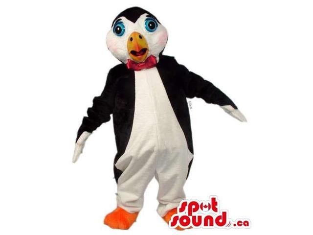 Customised Penguin Polar Animal Canadian SpotSound Mascot With Red Bow Tie