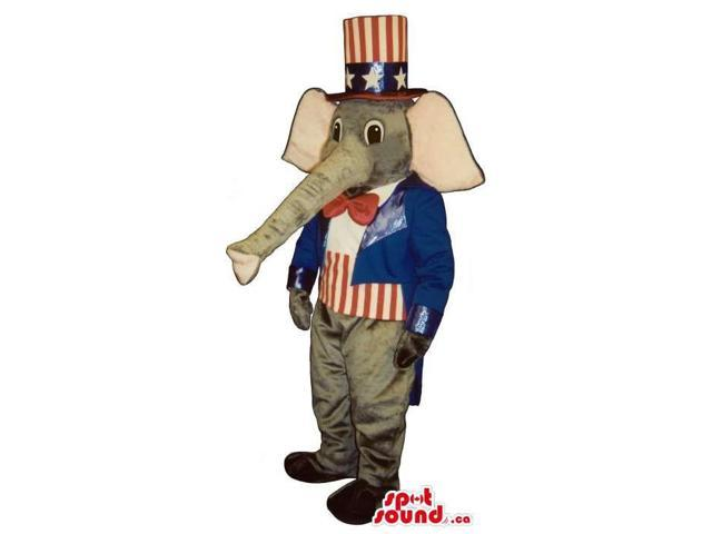 Grey Elephant Plush Canadian SpotSound Mascot Dressed In Uncle Sam Clothes