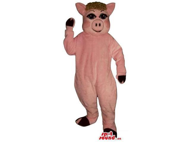 Pink Pig Farm Animal Plush Canadian SpotSound Mascot With Brown Curly Hair