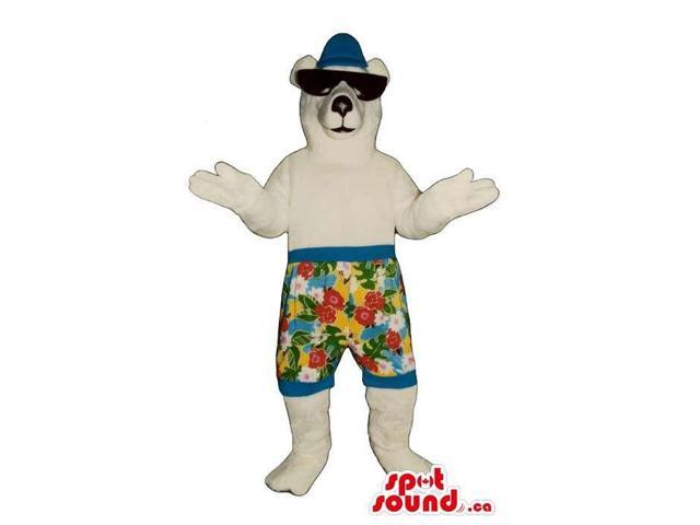 White Bear Canadian SpotSound Mascot Dressed In Sunglasses And Flower Shorts