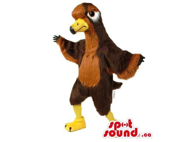Customised All Brown Bird Canadian SpotSound Mascot With Yellow Beak