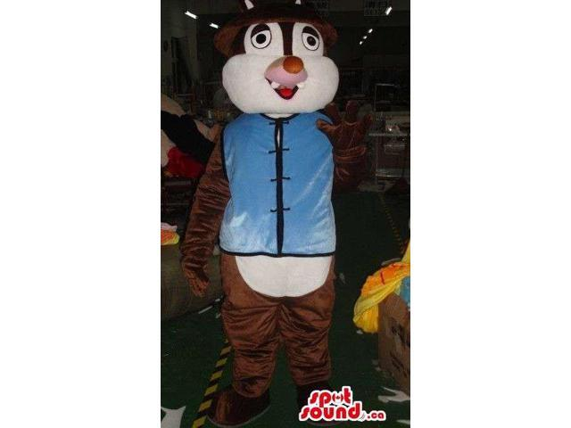 Dark Brown Chipmunk Plush Canadian SpotSound Mascot With Blue Oriental Clothes