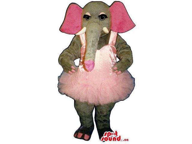 Grey Elephant Plush Canadian SpotSound Mascot With A Pink Ballet Dress
