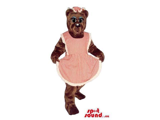 Brown Lady Bear Plush Canadian SpotSound Mascot With Blue Eyelids Dressed In An Apron