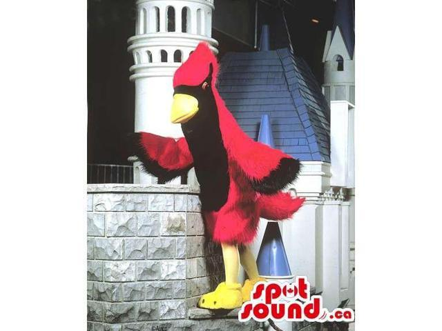 Customised Red And Black Bird Canadian SpotSound Mascot With Yellow Beak And Legs