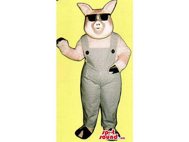 Pink Pig Farm Animal Plush Canadian SpotSound Mascot Dressed In Sunglasses And Overalls