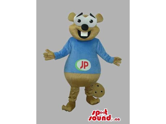 Beige Otter Animal Plush Canadian SpotSound Mascot With A Blue T-Shirt With Logo