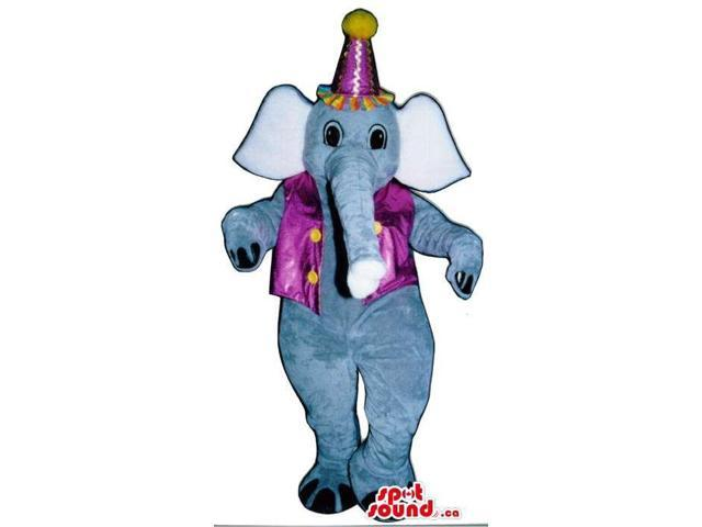 Circus Elephant Plush Canadian SpotSound Mascot With A Purple Vest And Party Hat