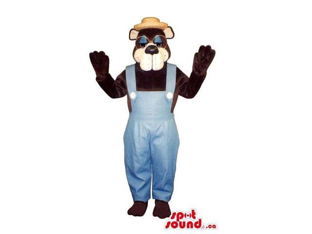 Brown Bear Plush Canadian SpotSound Mascot With Glasses Dressed In Farmer Gear