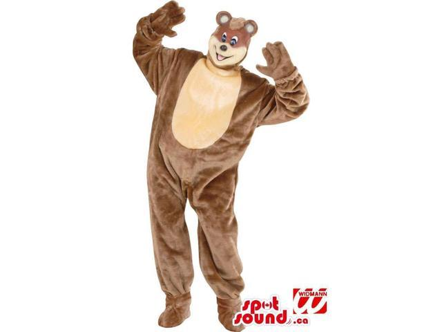 Peculiar All Brown Bear Canadian SpotSound Mascot With A Loose Body And A Small Head