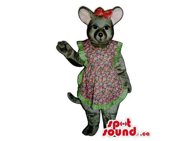 Grey Girl Mouse Animal Canadian SpotSound Mascot Dressed In A Dress And Red Ribbon