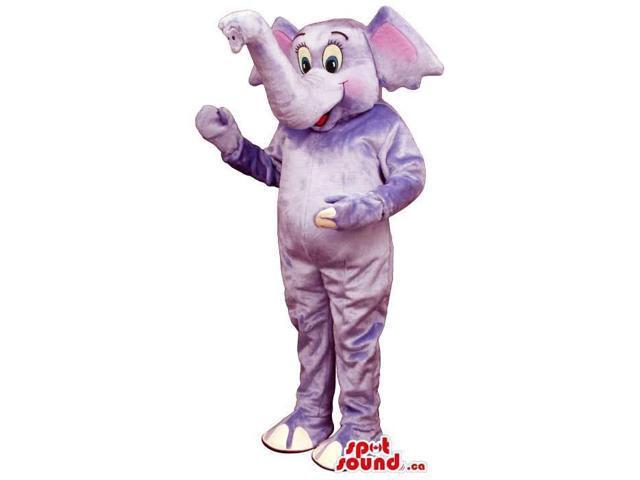 Purple Elephant Plush Canadian SpotSound Mascot With An Upwards Trunk