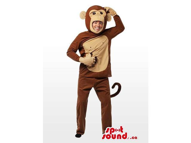 Cute Large Brown And Beige Monkey Children Size Plush Costume
