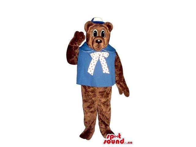 Brown Bear Plush Canadian SpotSound Mascot With Blue Clothes And A Cap