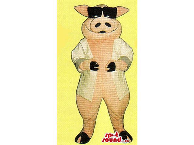 Pink Pig Farm Animal Plush Canadian SpotSound Mascot Dressed In Sunglasses And Jacket