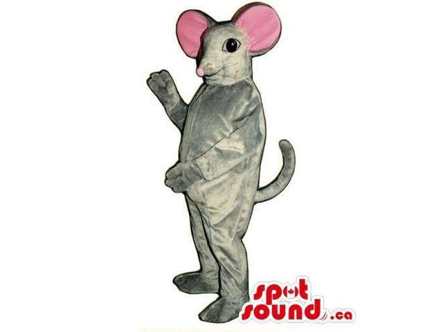Customised Grey Mouse Animal Canadian SpotSound Mascot With Round Pink Ears