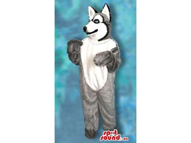 Real-Looking Grey And White Wolf Or Husky Dog Plush Canadian SpotSound Mascot