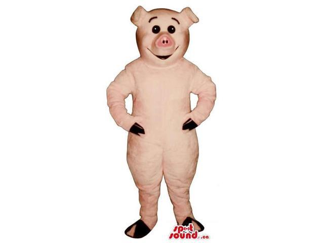 Cute Pink Pig Farm Animal Plush Canadian SpotSound Mascot With Round Eyes