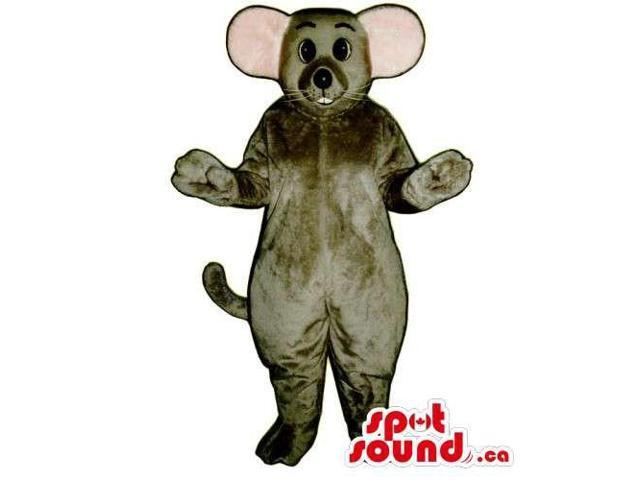 Customised Grey Mouse Animal Canadian SpotSound Mascot With Pink Ears