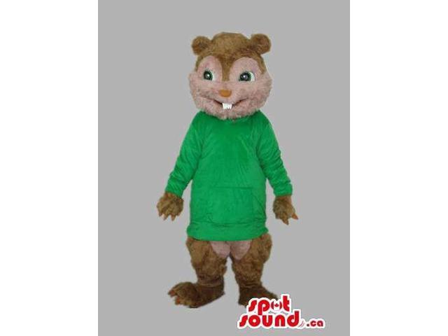 Brown Chipmunk Plush Canadian SpotSound Mascot With Green Long T-Shirt