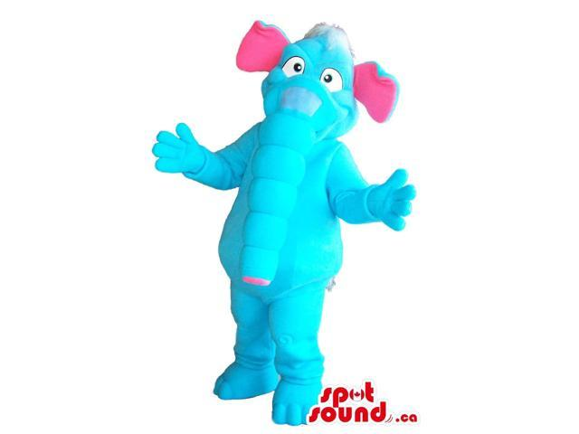 Flashy Blue Elephant Plush Canadian SpotSound Mascot With Pink Ears And A Long Trunk