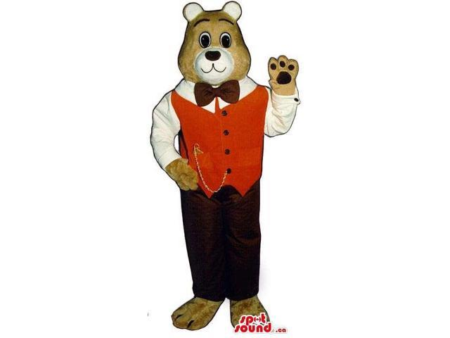 Brown Bear Plush Canadian SpotSound Mascot With A Red Vest And A Pocket Watch