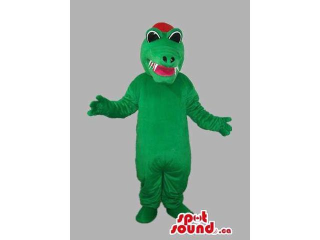 Green Dragon Plush Canadian SpotSound Mascot With Red Tongue And Cap