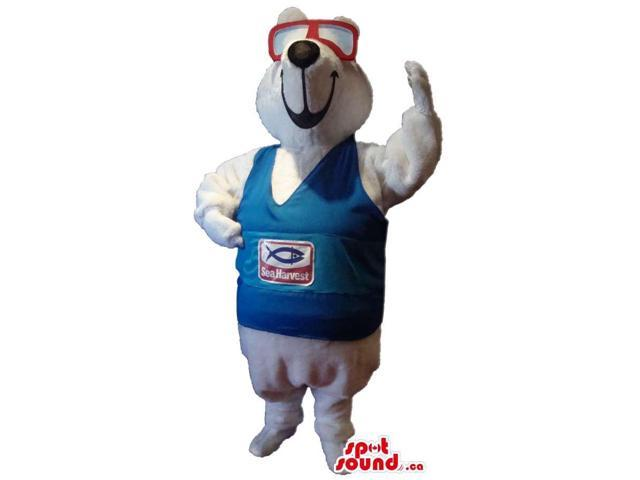 White Seal Plush Canadian SpotSound Mascot Dressed In A T-Shirt And Diver Glasses