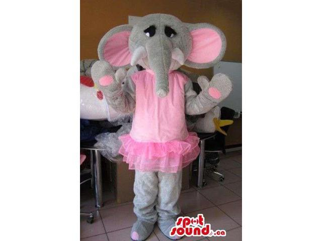 Girl Elephant Animal Plush Canadian SpotSound Mascot Dressed In Ballet Pink Gear