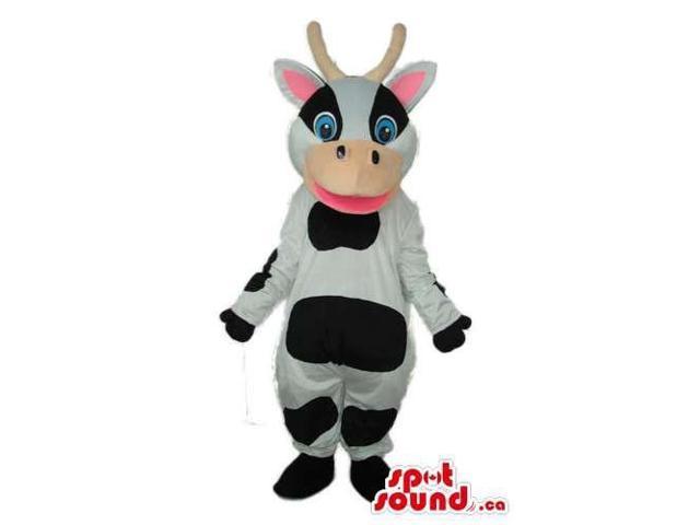 Cartoon Fairy-Tale Happy White And Black Cow Plush Canadian SpotSound Mascot