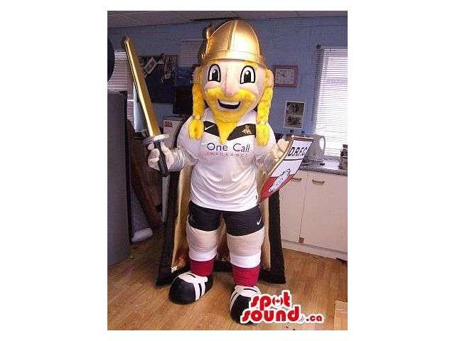 Blond Viking Canadian SpotSound Mascot Dressed In Soccer Clothes And A Sword