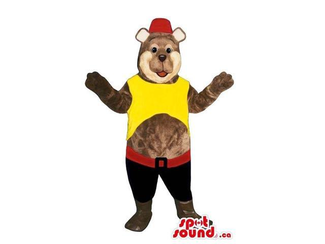 Brown Bear Plush Canadian SpotSound Mascot Dressed In Red And Yellow Peculiar Clothes