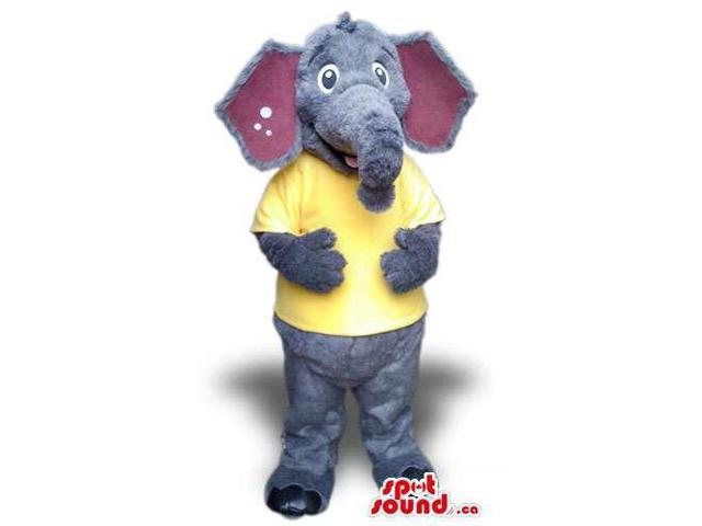Cute Grey Elephant Plush Canadian SpotSound Mascot Dressed In A Yellow T-Shirt