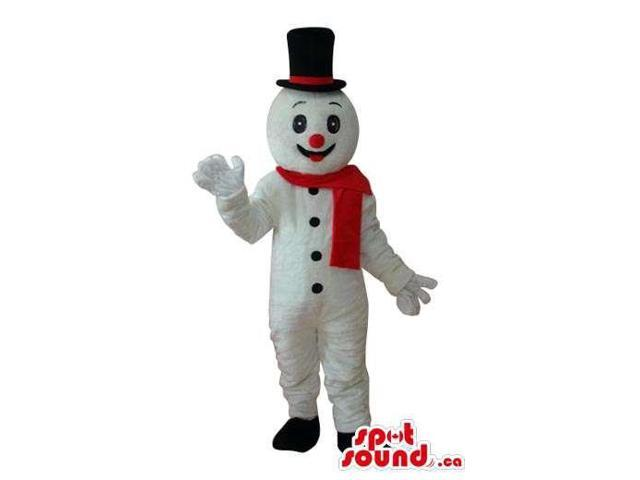 White Snowman Plush Canadian SpotSound Mascot With A Red Scarf And Top Hat