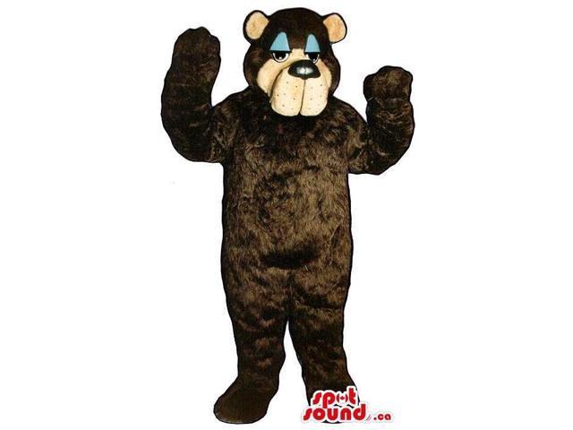 Dark Brown Bear Plush Canadian SpotSound Mascot With Blue Eyelids And A Sleepy Face