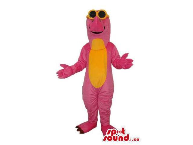 Pink And Yellow Dinosaur Plush Canadian SpotSound Mascot Dressed In Sunglasses