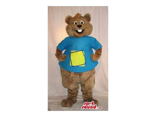 Customised Brown Teddy Bear Plush Canadian SpotSound Mascot Dressed In Blue T-Shirt