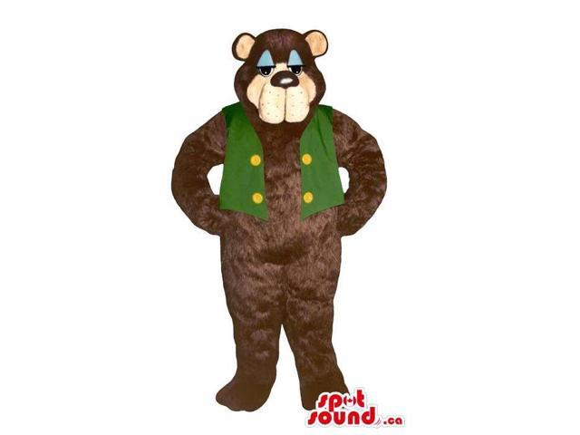 Brown Bear Plush Canadian SpotSound Mascot With A Sleepy Face Dressed In A Green Vest