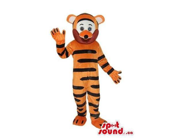 Cute Orange Tiger Plush Canadian SpotSound Mascot With A White And Brown Face